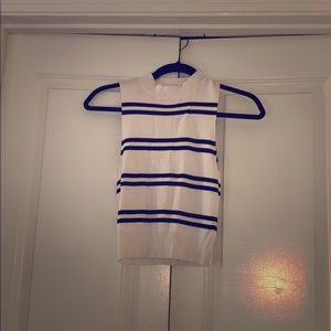 Express Navy and White Striped Cropped Sweater